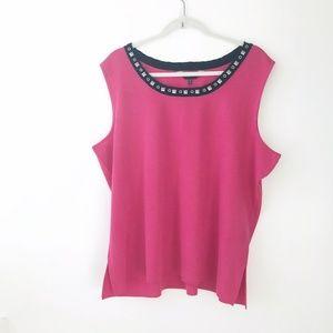 MING WANG Pink Sleeveless Tank Top Size 2X